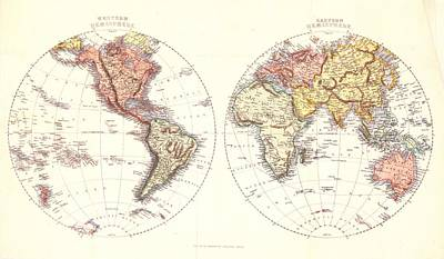 Old World Vintage Cartographic Maps Wall Art - Drawing - Antique Maps - Old Cartographic Maps - Antique Map Of The Eastern And Western Hemisphere, 1850 by Studio Grafiikka