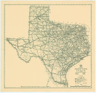 Royalty-Free and Rights-Managed Images - Antique Maps - Old Cartographic maps - Antique Map of the Highway System of Texas, 1933 by Studio Grafiikka