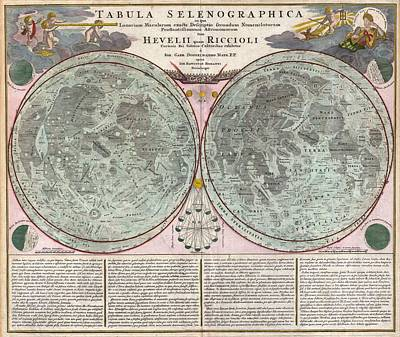 Drawing - Antique Maps - Old Cartographic Maps - Antique Map Of The Moon - Tabula Selenographica, 1707 by Studio Grafiikka