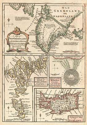 Royalty-Free and Rights-Managed Images - Antique Maps - Old Cartographic maps - Antique Map of the North Atlantic Islands, Greenland, 1747 by Studio Grafiikka