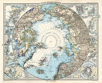 Drawing - Antique Maps - Old Cartographic Maps - Antique Map Of The North Pole And The Arctic Region by Studio Grafiikka