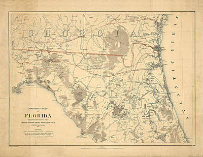 Royalty-Free and Rights-Managed Images - Antique Maps - Old Cartographic maps - Antique Map of the Northern Part of Florida, 1864 by Studio Grafiikka