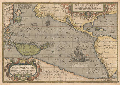 Royalty-Free and Rights-Managed Images - Antique Maps - Old Cartographic maps - Antique Map of the Pacific Ocean - Mar Del Zur, 1589 by Studio Grafiikka