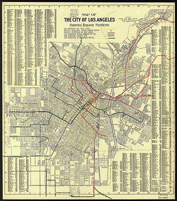 Royalty-Free and Rights-Managed Images - Antique Maps - Old Cartographic maps - Antique Map of the Railway Systems of Los Angeles, 1906 by Studio Grafiikka