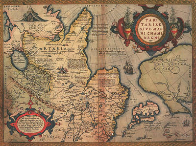 Drawing - Antique Maps - Old Cartographic Maps - Antique Map Of The Region Of Tartaria by Studio Grafiikka