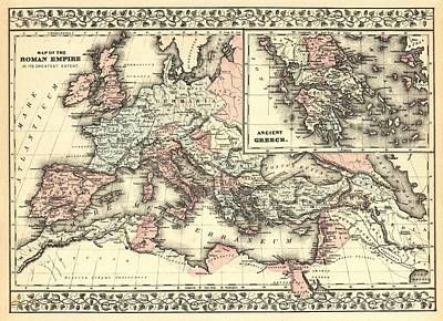 Drawing - Antique Maps - Old Cartographic Maps - Antique Map Of The Roman Empire, 1880 by Studio Grafiikka