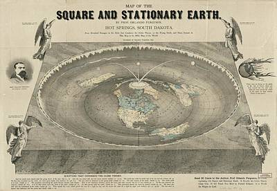 Royalty-Free and Rights-Managed Images - Antique Maps - Old Cartographic maps - Antique Map of the Square and Stationary Earth - Flat Earth by Studio Grafiikka