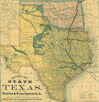 Royalty-Free and Rights-Managed Images - Antique Maps - Old Cartographic maps - Antique Map of The State of Texas, United States, 1876 by Studio Grafiikka