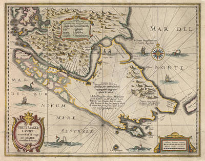 Royalty-Free and Rights-Managed Images - Antique Maps - Old Cartographic maps - Antique Map of the Strait of Magellan, South America, 1635 by Studio Grafiikka