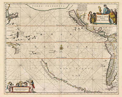 Royalty-Free and Rights-Managed Images - Antique Maps - Old Cartographic maps - Antique Map of the Strait of Magellan, South America, 1650 by Studio Grafiikka