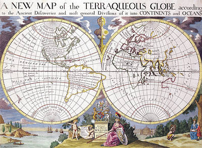 Old World Vintage Cartographic Maps Wall Art - Drawing - Antique Maps - Old Cartographic Maps - Antique Map Of The Terraqueous Globe by Studio Grafiikka