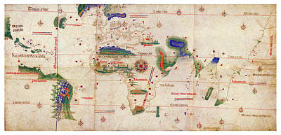 Old World Vintage Cartographic Maps Wall Art - Drawing - Antique Maps - Old Cartographic Maps - Antique Map Of The World, 1502 by Studio Grafiikka