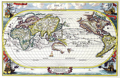 Old World Vintage Cartographic Maps Wall Art - Drawing - Antique Maps - Old Cartographic Maps - Antique Map Of The World, 1700 by Studio Grafiikka
