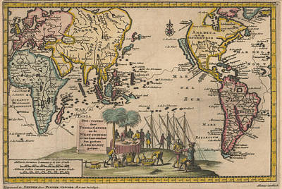 Bringing The Outdoors In - Antique Maps - Old Cartographic maps - Antique Map of the World, 1707 by Studio Grafiikka