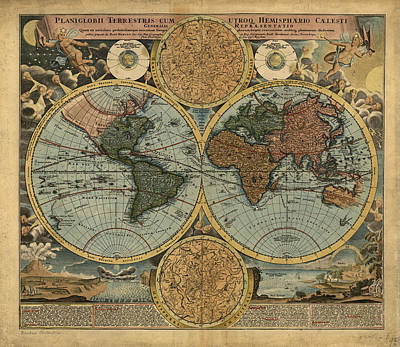 Royalty-Free and Rights-Managed Images - Antique Maps - Old Cartographic maps - Antique Map of the World, Double Hemisphere, Globe by Studio Grafiikka