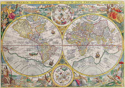 Old World Vintage Cartographic Maps Wall Art - Drawing - Antique Maps - Old Cartographic Maps - Antique Map Of The World, Double Hemisphere Map, 1599 by Studio Grafiikka