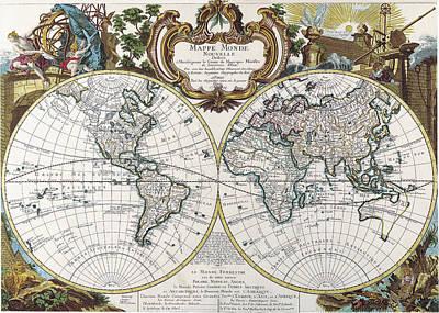Old World Vintage Cartographic Maps Wall Art - Drawing - Antique Maps - Old Cartographic Maps - Antique Map Of The World - Double Hemisphere Map, 1744 by Studio Grafiikka