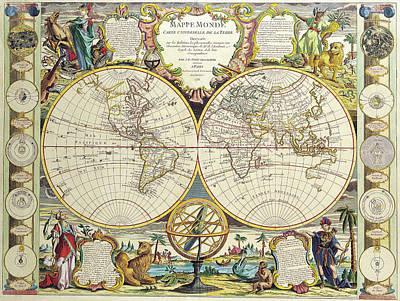 Old World Vintage Cartographic Maps Wall Art - Drawing - Antique Maps - Old Cartographic Maps - Antique Map Of The World, Double Hemisphere Map, 1755 by Studio Grafiikka