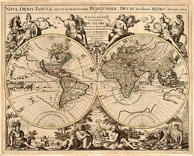 Old World Vintage Cartographic Maps Wall Art - Drawing - Antique Maps - Old Cartographic Maps - Antique Map Of The World - Double Hemisphere Map by Studio Grafiikka