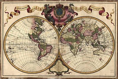 Old World Vintage Cartographic Maps Wall Art - Drawing - Antique Maps - Old Cartographic Maps - Antique Map Of The World, Double Hemisphere - Mappemonde by Studio Grafiikka