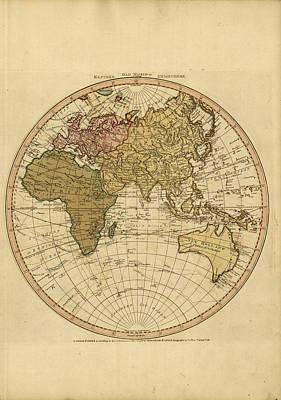 Old World Vintage Cartographic Maps Wall Art - Drawing - Antique Maps - Old Cartographic Maps - Antique Map Of The World - Eastern Hemisphere Map by Studio Grafiikka