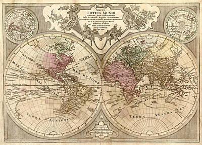 Old World Vintage Cartographic Maps Wall Art - Drawing - Antique Maps - Old Cartographic Maps - Antique Map Of The World, Globe - Mappa Mundi by Studio Grafiikka