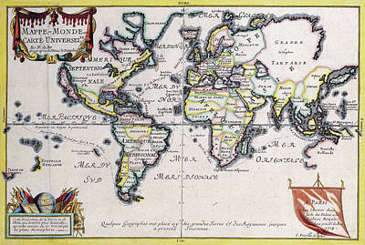 Old World Vintage Cartographic Maps Wall Art - Drawing - Antique Maps - Old Cartographic Maps - Antique Map Of The World In Latin, 1724 by Studio Grafiikka