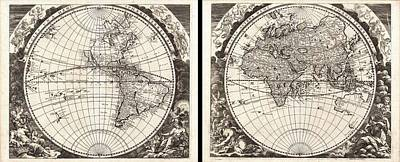 Drawing - Antique Maps - Old Cartographic Maps - Antique Map Of The World In Two Hemispheres, 1696 by Studio Grafiikka