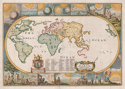 Old World Vintage Cartographic Maps Wall Art - Drawing - Antique Maps - Old Cartographic Maps - Antique Map Of The World by Studio Grafiikka