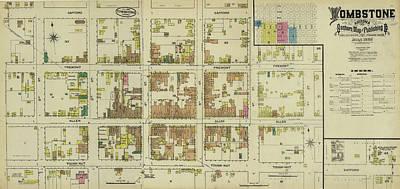 University Of Arizona Drawing - Antique Maps - Old Cartographic Maps - Antique Map Of Tombstone, Arizona, 1886 by Studio Grafiikka