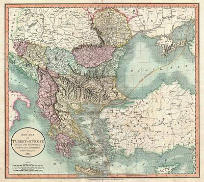 Turkey Drawing - Antique Maps - Old Cartographic Maps - Antique Map Of Turkey In Europe, Greece And The Balkans, 1801 by Studio Grafiikka