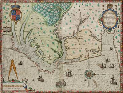 Royalty-Free and Rights-Managed Images - Antique Maps - Old Cartographic maps - Antique Map of Virginia in Latin by Studio Grafiikka