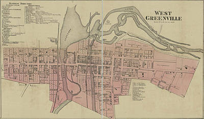 Royalty-Free and Rights-Managed Images - Antique Maps - Old Cartographic maps - Antique Map of West Greenville, Carolina by Studio Grafiikka