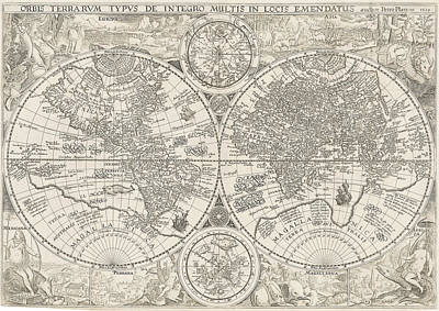 Old World Vintage Cartographic Maps Wall Art - Drawing - Antique Maps - Old Cartographic Maps - Antique Map Of World In Latin, 1594 by Studio Grafiikka