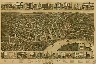 Drawing - Antique Maps - Old Cartographic Maps - Antique Perspective Map Of Montgomery, Alabama, 1887 by Studio Grafiikka