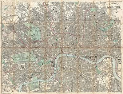 Royalty-Free and Rights-Managed Images - Antique Maps - Old Cartographic maps - Antique Pocket Map of London, England, 1890 by Studio Grafiikka