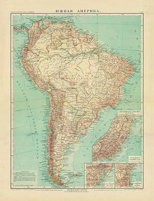 Royalty-Free and Rights-Managed Images - Antique Maps - Old Cartographic maps - Antique Russian Map of South America by Studio Grafiikka