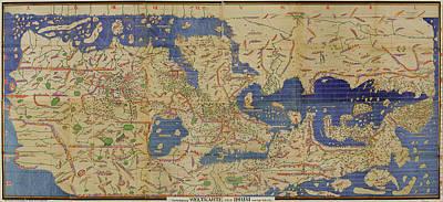 Old World Vintage Cartographic Maps Wall Art - Drawing - Antique Maps - Old Cartographic Maps - Antique World Map By Idrisi by Studio Grafiikka