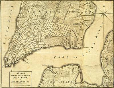Drawing - Antique Maps - Old Cartographic Maps - City Of New York And Its Environs by Studio Grafiikka