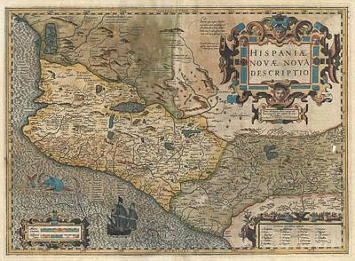 Drawing - Antique Maps - Old Cartographic Maps - Hondius And Mercator Map Of Mexico, 1606 by Studio Grafiikka