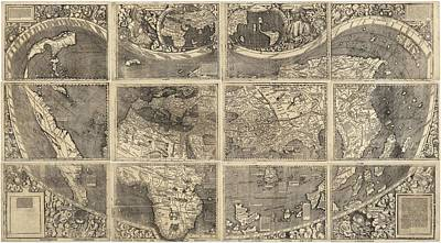 Old World Vintage Cartographic Maps Wall Art - Drawing - Antique Maps - Old Cartographic Maps - Illustrated Map Of The World by Studio Grafiikka