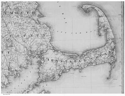 Royalty-Free and Rights-Managed Images - Antique Maps - Old Cartographic maps - Old Map of Cape Cod, 1844 by Studio Grafiikka
