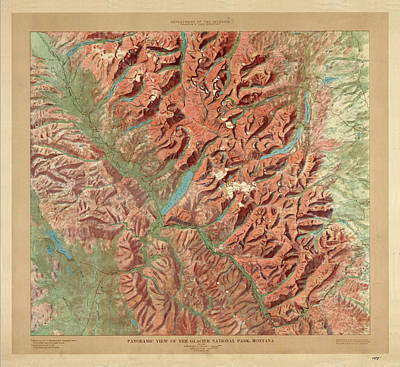 Drawing - Antique Maps - Old Cartographic Maps - Relief Map Of Glacier National Park, Montana by Studio Grafiikka