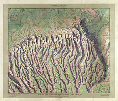 Drawing - Antique Maps - Old Cartographic Maps - Relief Map Of Mesa Verde National Park, Colorado by Studio Grafiikka