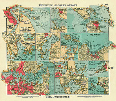 Royalty-Free and Rights-Managed Images - Antique Maps - Old Cartographic maps - Sea Ports along the Pacific Ocean, 1906 by Studio Grafiikka
