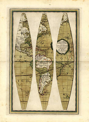 Old World Vintage Cartographic Maps Wall Art - Drawing - Antique Maps - Old Cartographic Maps - Sections Of The Globe - Pacific Ocean by Studio Grafiikka