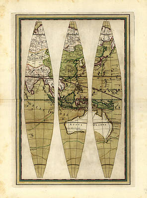 Old World Vintage Cartographic Maps Wall Art - Drawing - Antique Maps - Old Cartographic Maps - Sections Of The Globe - South East Asia And Australia by Studio Grafiikka