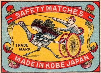 Ostrich Digital Art - Antique Matchbox Label Ostrich Harness Racing Kobe Japan by Retro Graphics