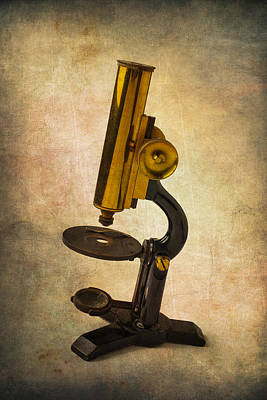 Magnified Photograph - Antique Micrscope by Garry Gay