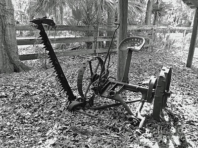 Photograph - Antique Mower B W by D Hackett